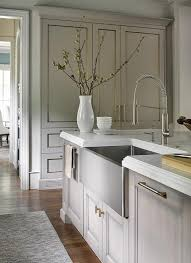 Kitchen Islands Stainless Steel Gray Wash Kitchen Island With Nickel And Brass Pulls And Stainless