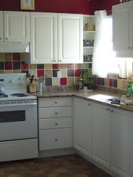 very small retro kitchen idea with gingham mat and white l shaped