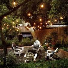 outdoor patio with gravels and string lights fun and affordable