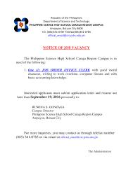Resume Job Order by Philippine Science High Caraga Region Campus Job