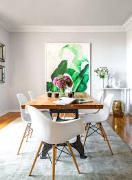art for the dining room oversized art eames chairs wood table gray walls general scheme
