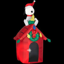 peanuts airblown inflatables peanuts 4 ft snoopy on doghouse with woodstock 85764