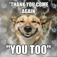 Thank You Come Again Meme - thank you come again you too stoner dog quickmeme