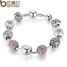 silver bracelet with crystal images Bamoer antique 925 silver charm bangle bracelet with love and jpg