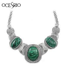 aliexpress vintage necklace images Ocesrio vintage big green malachite stone necklace for women jpg