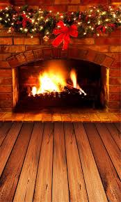 indoor house brick fireplace christmas background for studio