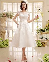 turmec a line cap sleeve tea length wedding dress