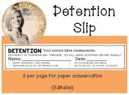 classroom management bathroom pass detention slip cn template