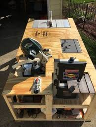 Rolling Work Bench Plans Mobile Workbench With Built In Table U0026 Miter Saws Woodworking