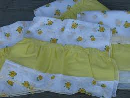 White Curtains With Yellow Flowers Crisp White Kitchen Curtains W Yellow Flocked Flowers 1960s Vintage