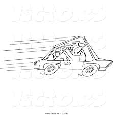 vector of a cartoon speeding driver coloring page outline by