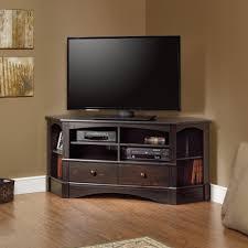 Corner Bedroom Furniture Units by Fancy Matte Varnished Dark Oak Wood Tall Corner Tv Stand For