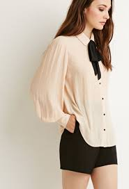 bow tie blouse lyst forever 21 contemporary self tie bow blouse in