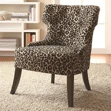 coaster furniture 902066 safari inspired leopard print accent chair with lean tapered legs