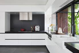 architecture beautiful black and white kitchen with wide open