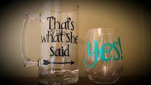 his hers wine glasses yes that s what she said mug and stemless wine