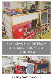 ever clever mom play space made from the kura bunk bed from ikea