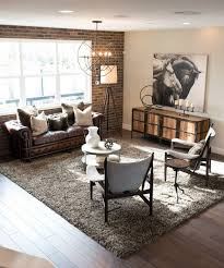 Wooden Frame Armchair Gorgeous Industrial Living Room Ideas Rustic Brown Fur Rug Wooden
