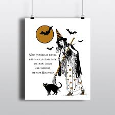 Halloween Poems About Witches Classic Halloween Witch Poster Halloween Poem Spooky Black