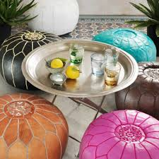 Leather Moroccan Ottoman by Moroccan Leather Pouffes Home Accessories G U0026g Uk