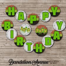 turtle ninja birthday printable banner dandelion avenue
