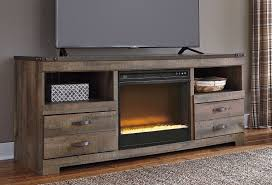 trinell large tv stand w glass and stone fireplace tv stands