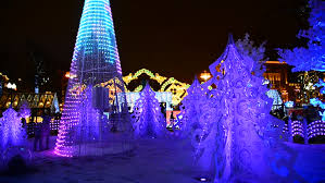 north american houses brightly light with christmas lights and