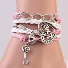 handmade bracelet charms images 2016 new handmade bracelet lock key cupid 39 s arrow charms infinity jpg
