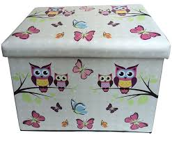 owl and butterfly folding storage ottoman and seat bedroom storage