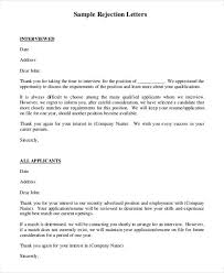 7 rejection letter templates 7 free sample example format