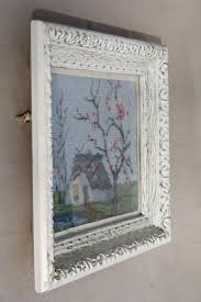 needlepoint pictures shabby chic country scenes in white painted
