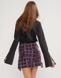 tweed skirt fringe tweed skirt cynthia rowley