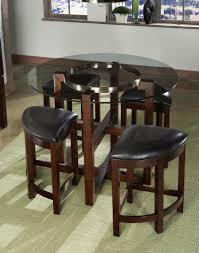 4 pieces bar stool set with dining table using black leather