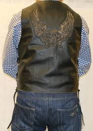leather biker vest mens black leather waistcoat biker vest eagle embose sides