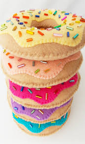 donuts handmade and sewn felt ornaments by