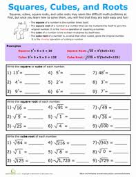 building exponents squares cubes and roots algebra worksheets