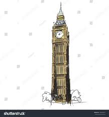 London Clock Tower by Big Ben Clock Tower Houses Parliament Stock Vector 140265823