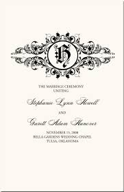 what goes on a wedding program vintage monogram wedding programs wedding ceremony programschurch