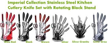 Red Kitchen Knife Block Set by Imperial Collection Kitchen Cutlery Best Stainless Steel Knife Set