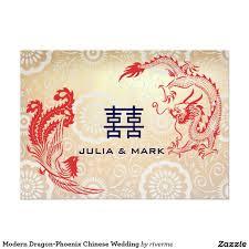 Cute Wedding Invitation Cards Modern Dragon Phoenix Chinese Wedding 5x7 Paper Invitation Card