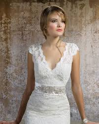 lace wedding dress with v neckline and cap sleeves sang maestro