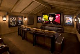 Modern Media Room Ideas - home theater room ideas home theater modern with bar stools custom