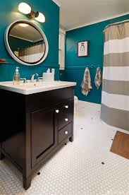 bathroom petrol walls wood furniture and doors white