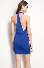 bcbgmaxazria jersey halter dress in blue lyst