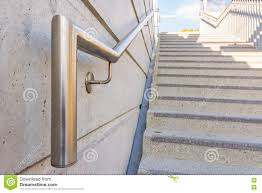 Steel Handrails For Steps Metal Chrome Steel Handrail Public Staircase Safety Steps Stock
