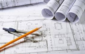 architecture plans with compass stock photo image 60258725