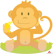sitting monkey with banana free clipart design download