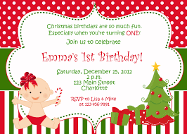 Baby 1st Birthday Invitation Card Wonderful Christmas Birthday Party Invitations Theruntime Com