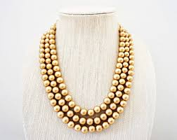 bead necklace gold images Gold bead etsy jpg
