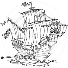 cartoon pirate ship black and white line art by ron leishman